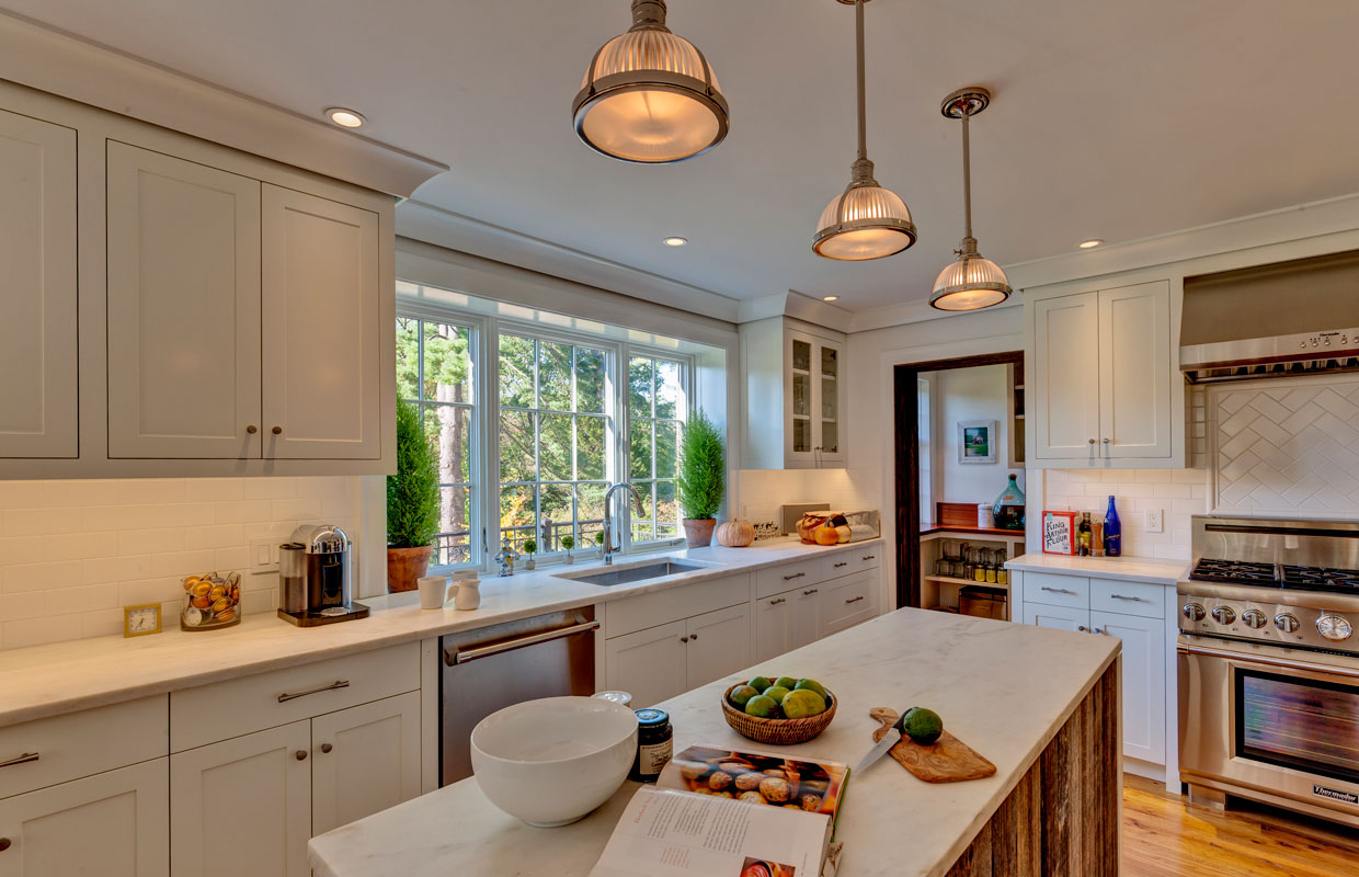 large white kitchen with an island