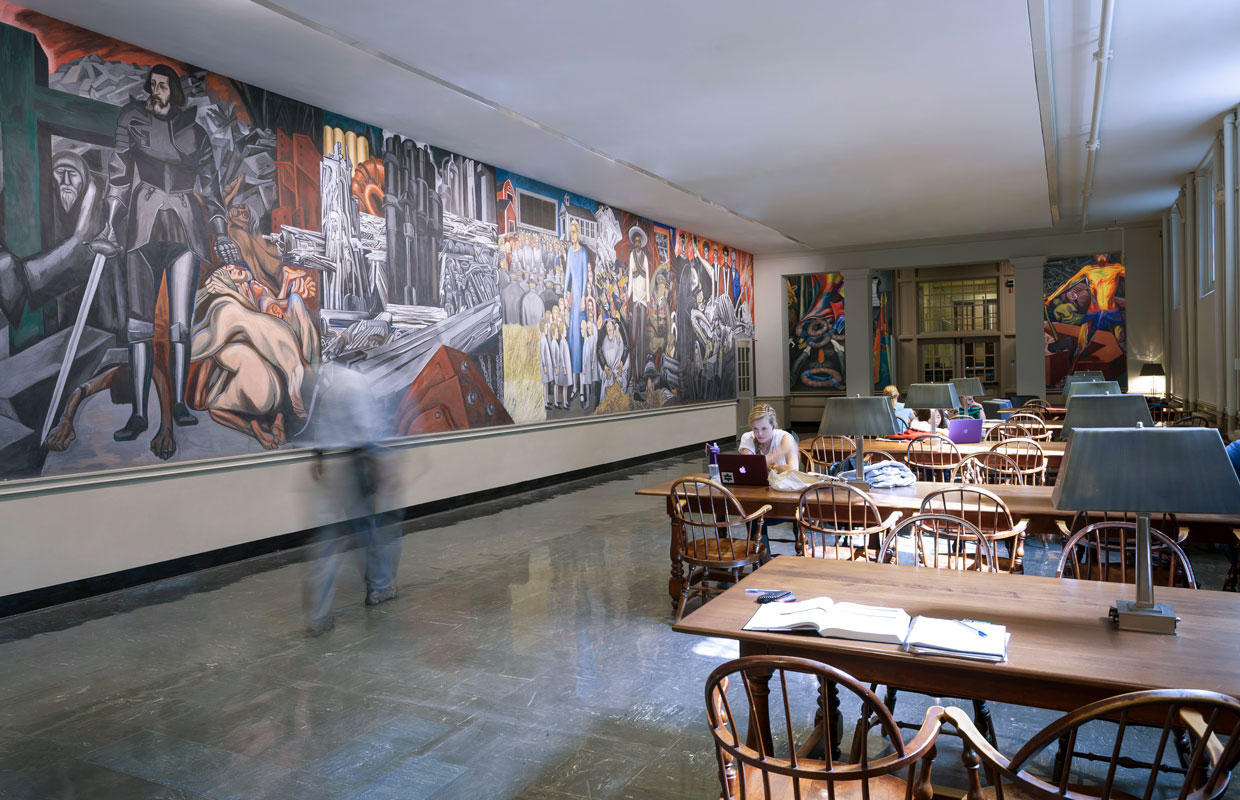 long corridor with a mural at Dartmouth College