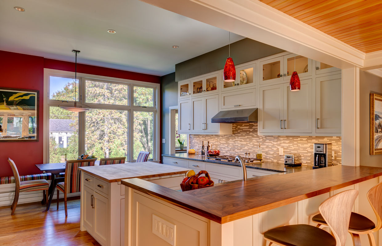 large kitchen with red walls