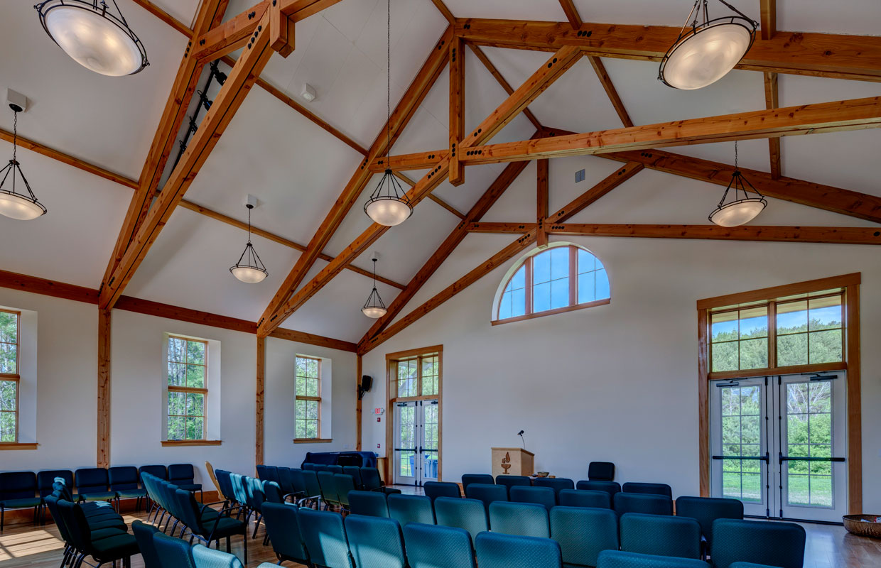 timber-framed meeting house inside view