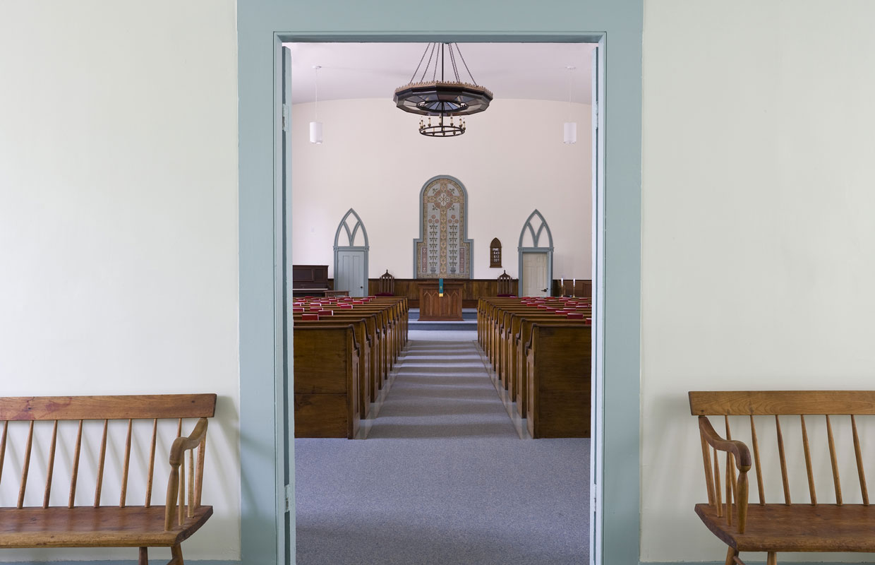 view into a church from the entryway