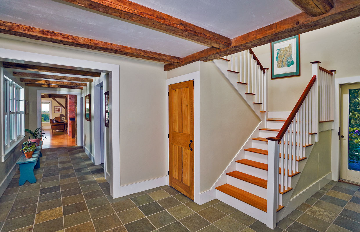 view of a staircase and tile floor