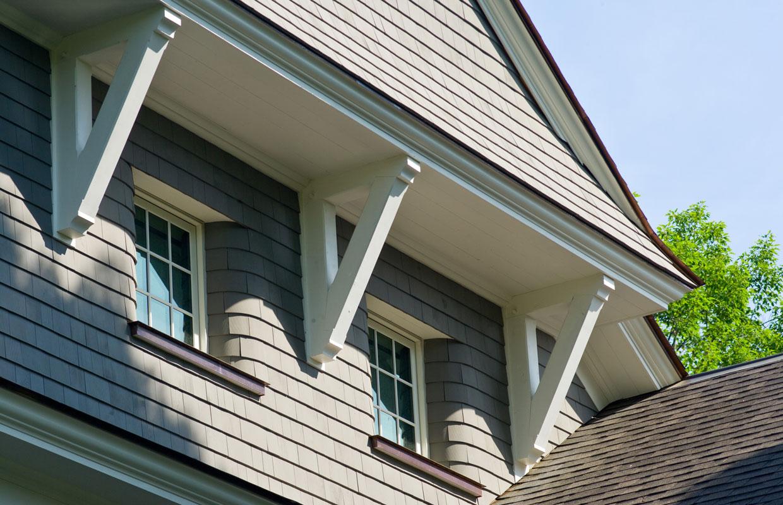 detail of the shingle siding on a home