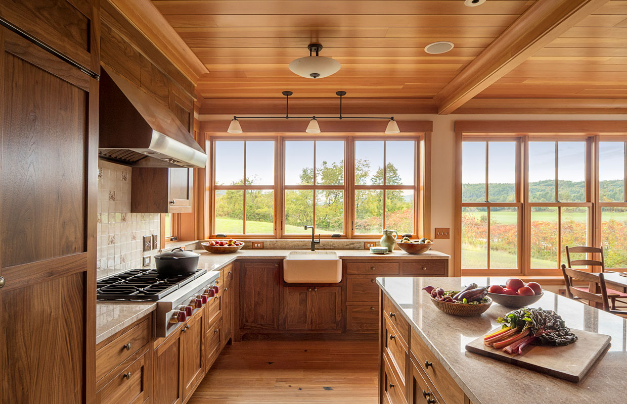 farmhouse kitchen with lots of windows