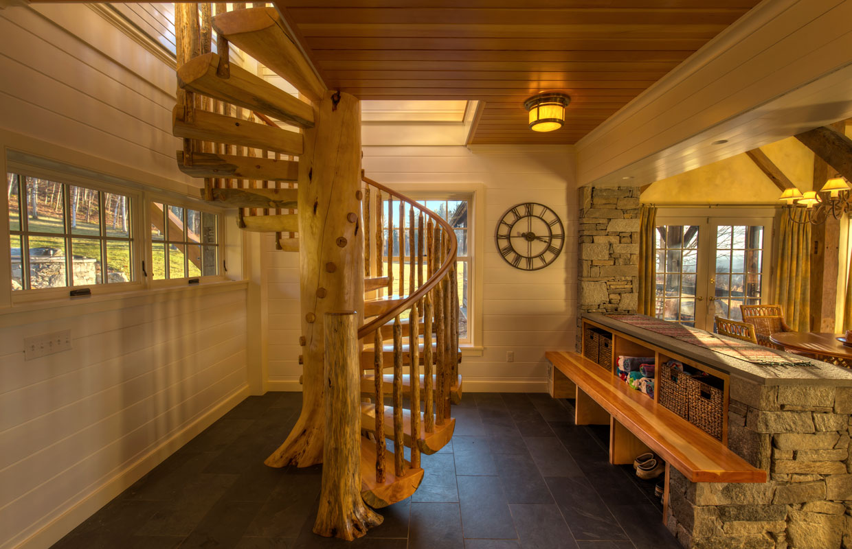 natural wood spiral staircase